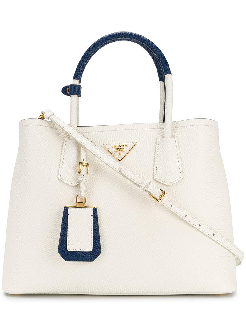 510f48ccdc86 Lyst - Prada Bibliotheque Tote Bag in White