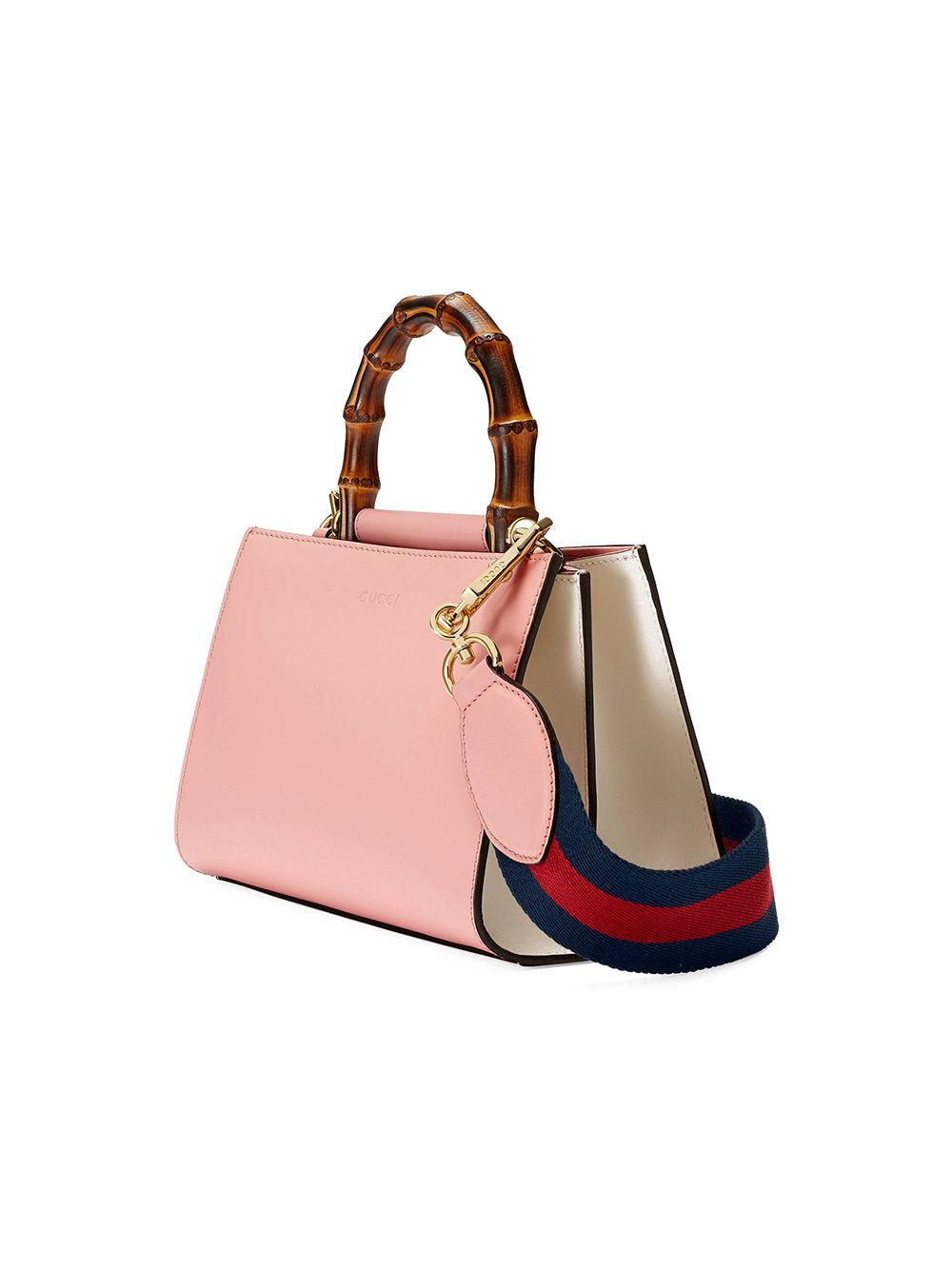 632507f485f Lyst - Gucci Nymphaea Leather Top Handle Bag in Pink