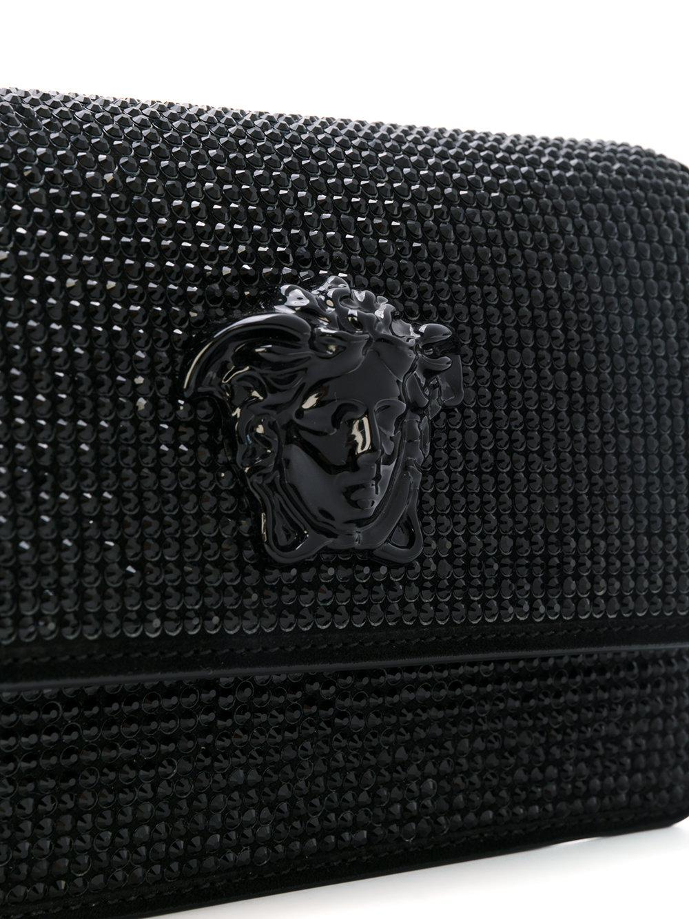 a50b5c4ac643 Versace Crystal-embellished Medusa Palazzo Shoulder Bag in Black - Lyst