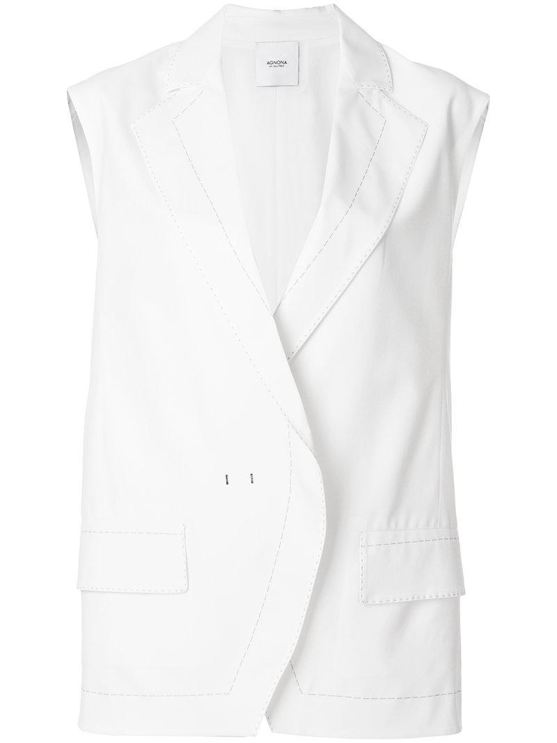 Agnona contrast stitch oversize waistcoat Clearance Ebay CXUHkyct
