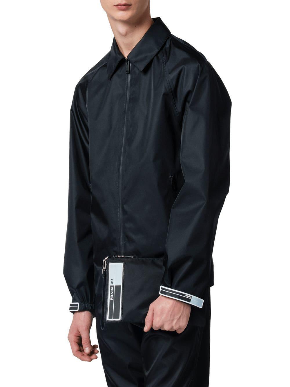 4c240fb3e7e3 Prada Nylon Pouch With Leather Trim in Black for Men - Lyst