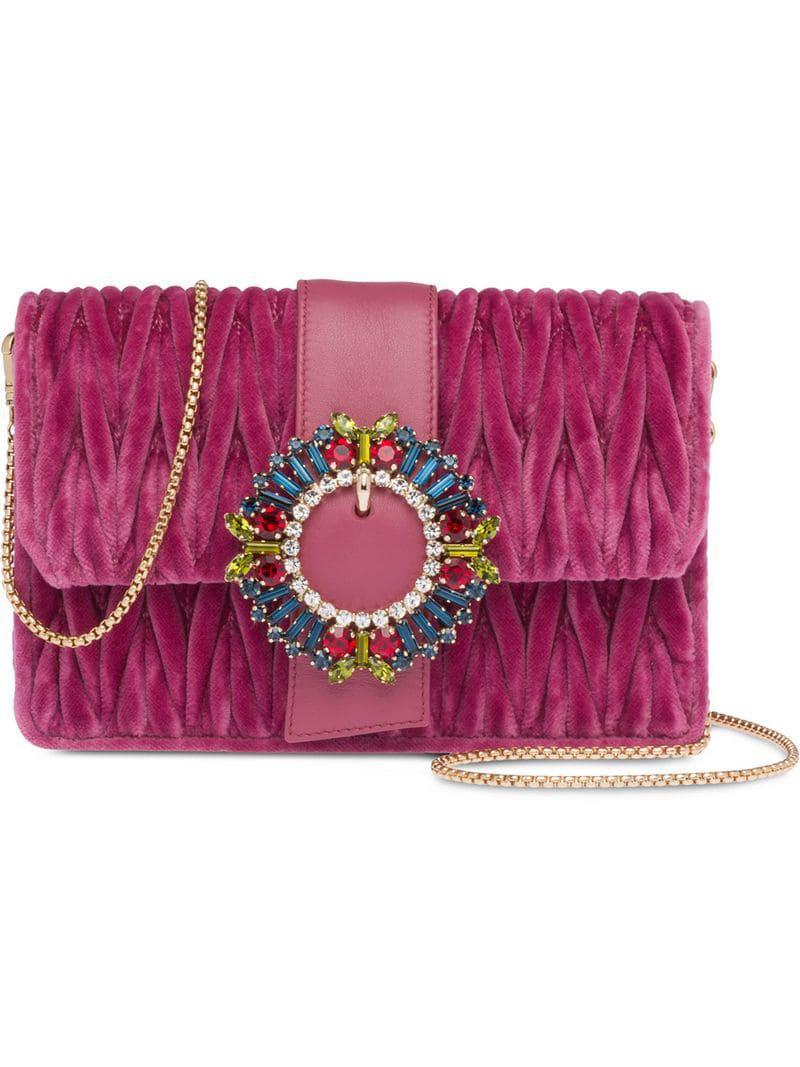 af0ebc50ba97 Lyst - Miu Miu Matelassé Shoulder Bag in Pink