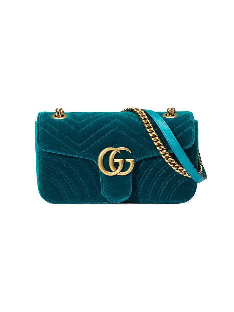 76155860a46692 Gucci GG Marmont Velvet Shoulder Bag in Blue - Lyst