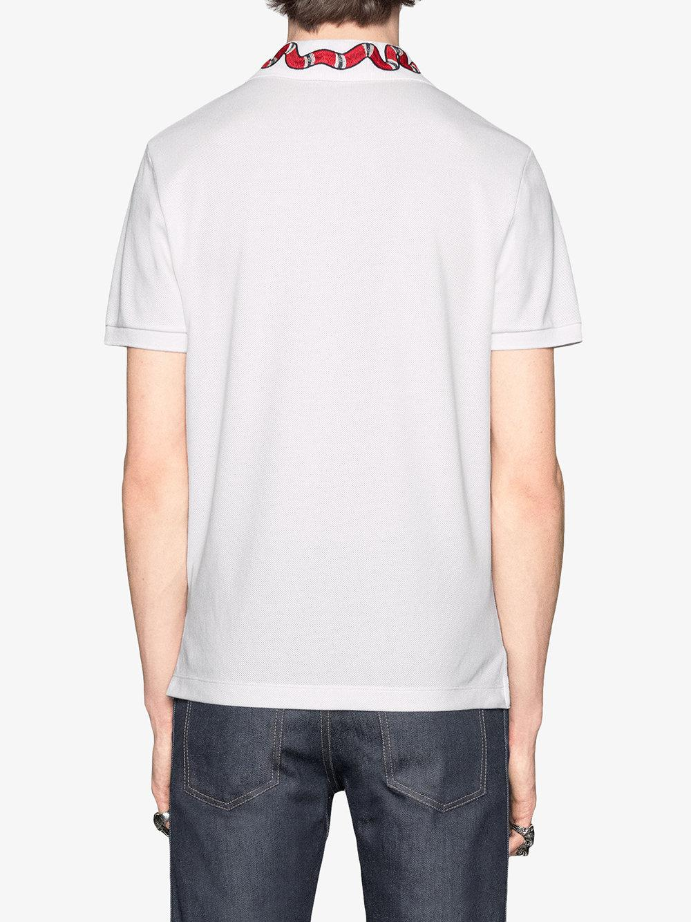 2d647959 Gucci - White Kingsnake Embroidered Polo Shirt for Men - Lyst. View  fullscreen
