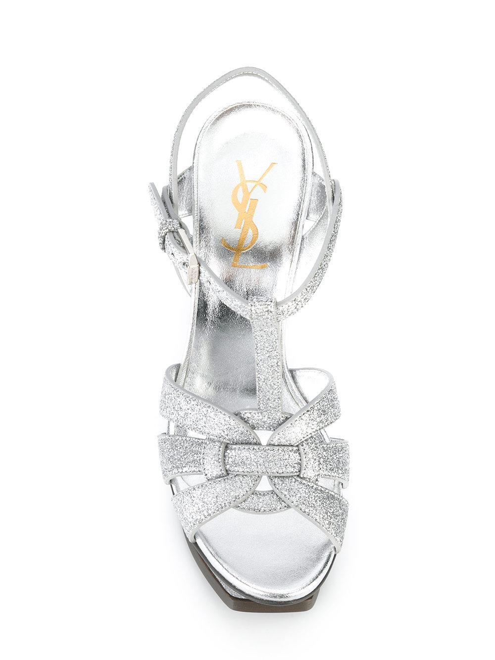 000a88d2403 Lyst - Saint Laurent  classic Tribute 105  Sandals in Metallic