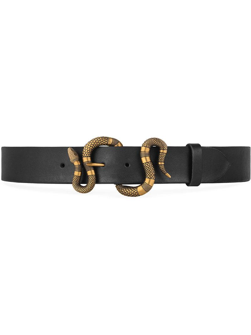 4cce3d5140af Gucci Leather Belt With Snake Buckle in Black for Men - Save 7% - Lyst