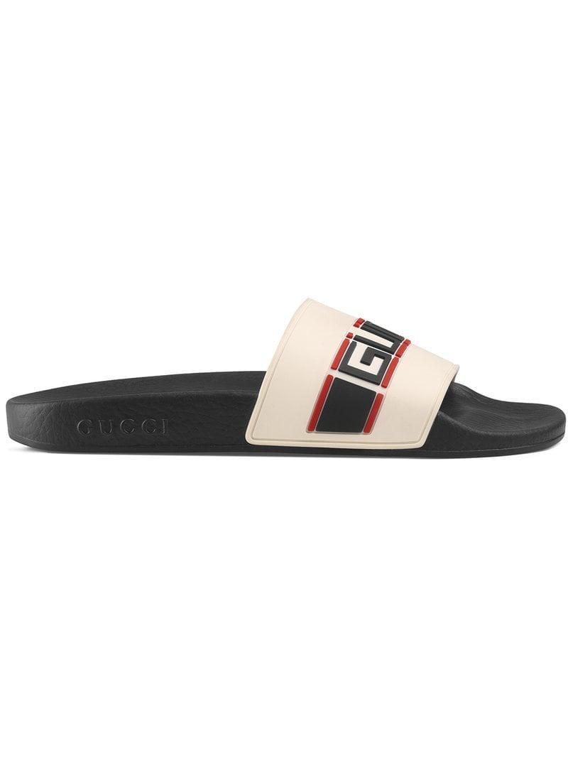 30645a2dbff6 Gucci Stripe Rubber Slide Sandals in White - Save 3% - Lyst