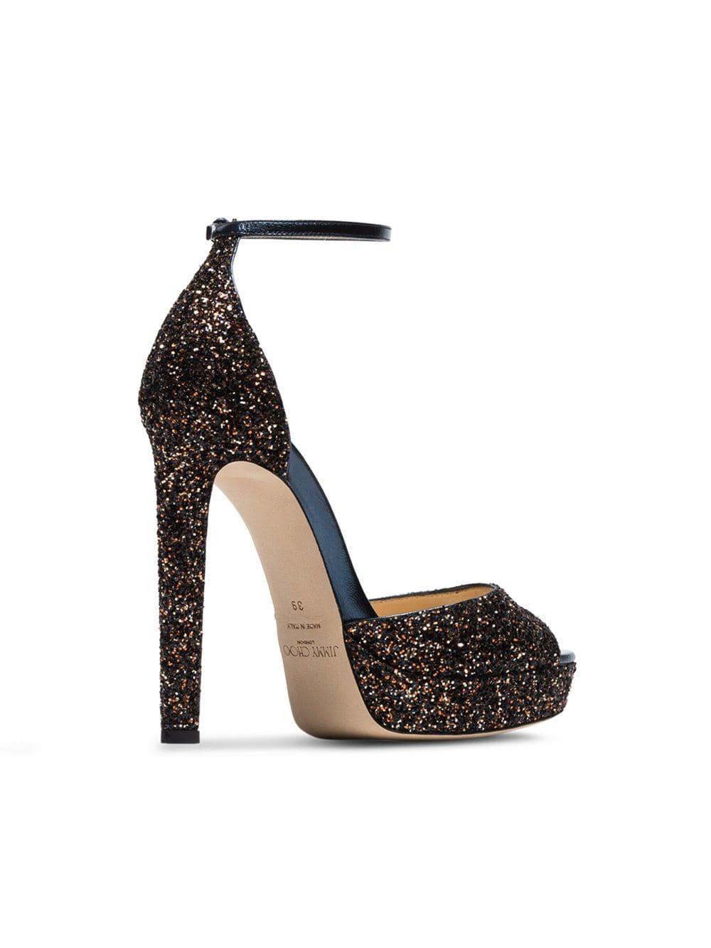 b72903ab097 Jimmy Choo - Metallic Pattie 130 Glitter Platform Sandals - Lyst. View  fullscreen
