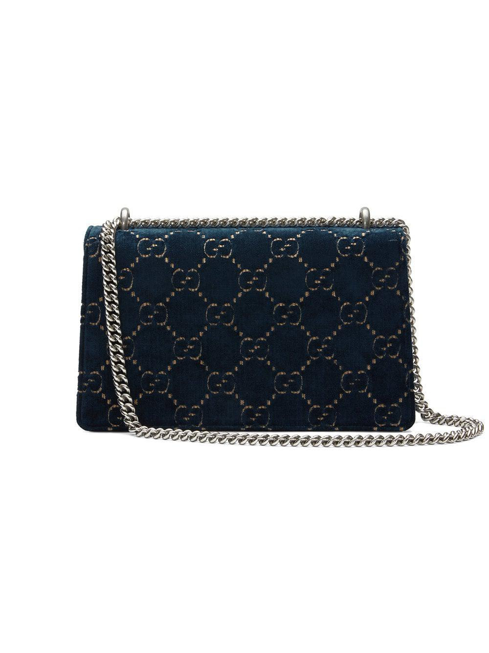 dc2f75094a4 Lyst - Gucci Dionysus GG Velvet Small Shoulder Bag in Black