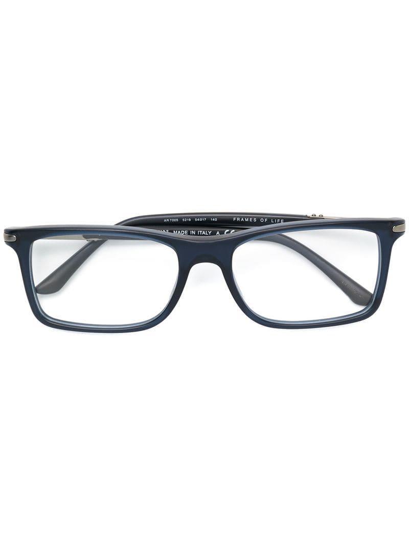 1b83024c195 Giorgio Armani Rectangular Glasses in Blue for Men - Lyst