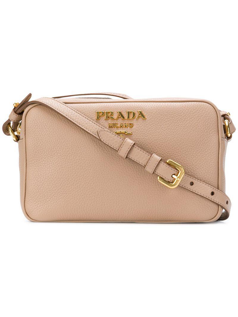 3fc162ac34ce Prada Logo Crossbody Camera Bag in Natural - Lyst