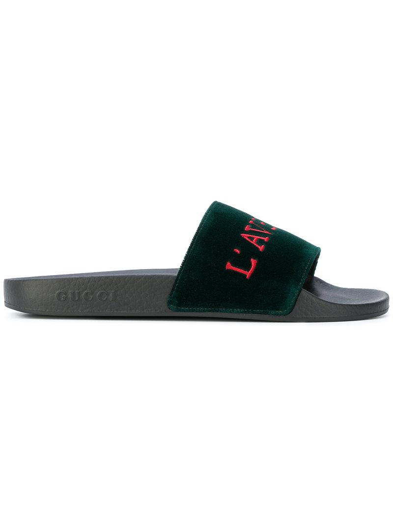 7a74b5b657bf Lyst - Gucci Embroidered Slides in Green