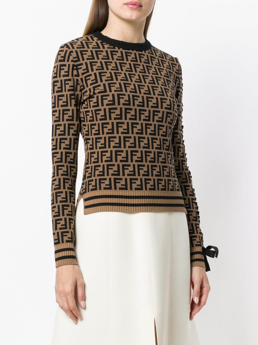 592cc7c252 Lyst - Fendi Logo Long-sleeve Sweater in Brown