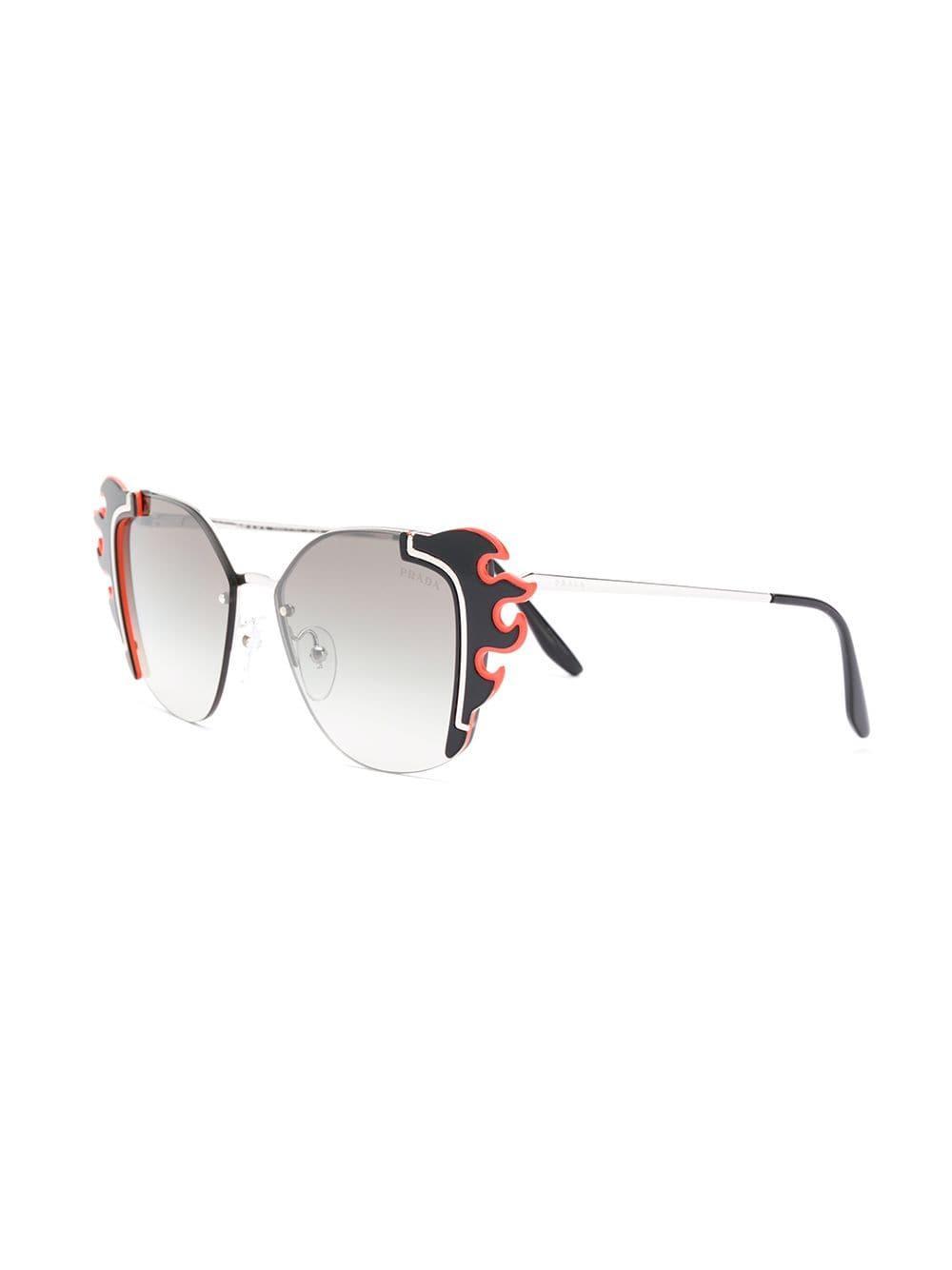 a7f798869eb Prada - Black Flame Shaped Sunglasses - Lyst. View fullscreen