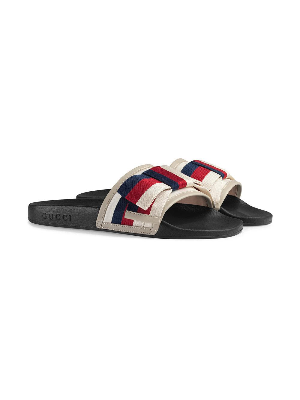 4279c92dbbd Gucci Pursuit Bow Slide Sandal in White - Save 18% - Lyst