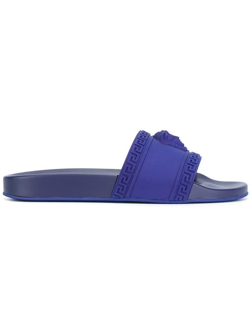 7887b5c04f34e Lyst - Versace Medusa Pool Slides in Blue for Men