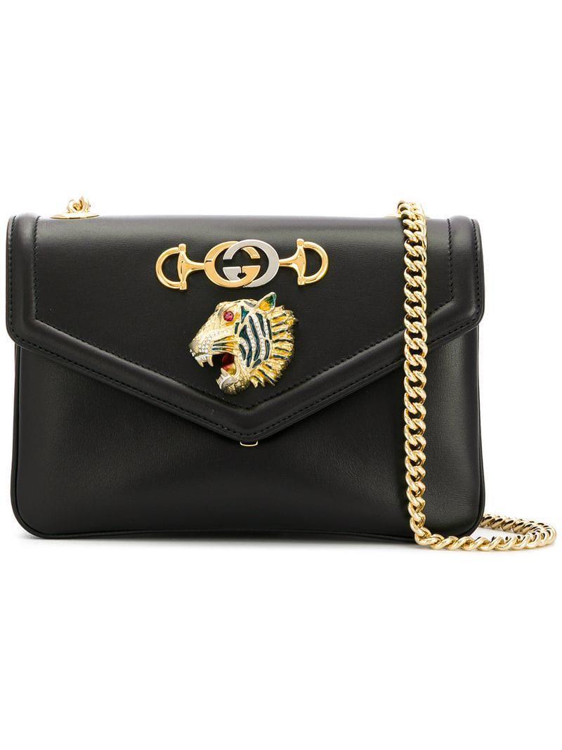 8ffa4543b86 Gucci Medium Shoulder Bag With Tiger Head in Black - Save ...