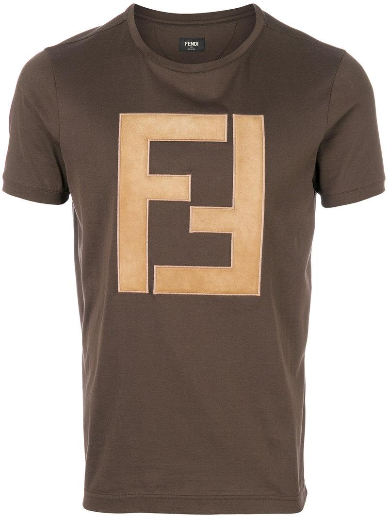 3aac421443f1 Fendi Ff Logo T-shirt in Brown for Men - Lyst