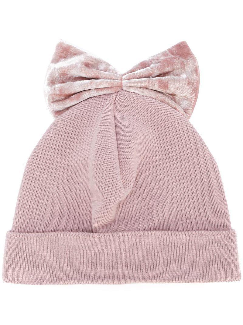 78256e702db Federica Moretti Velvet Bow Beanie in Pink - Lyst