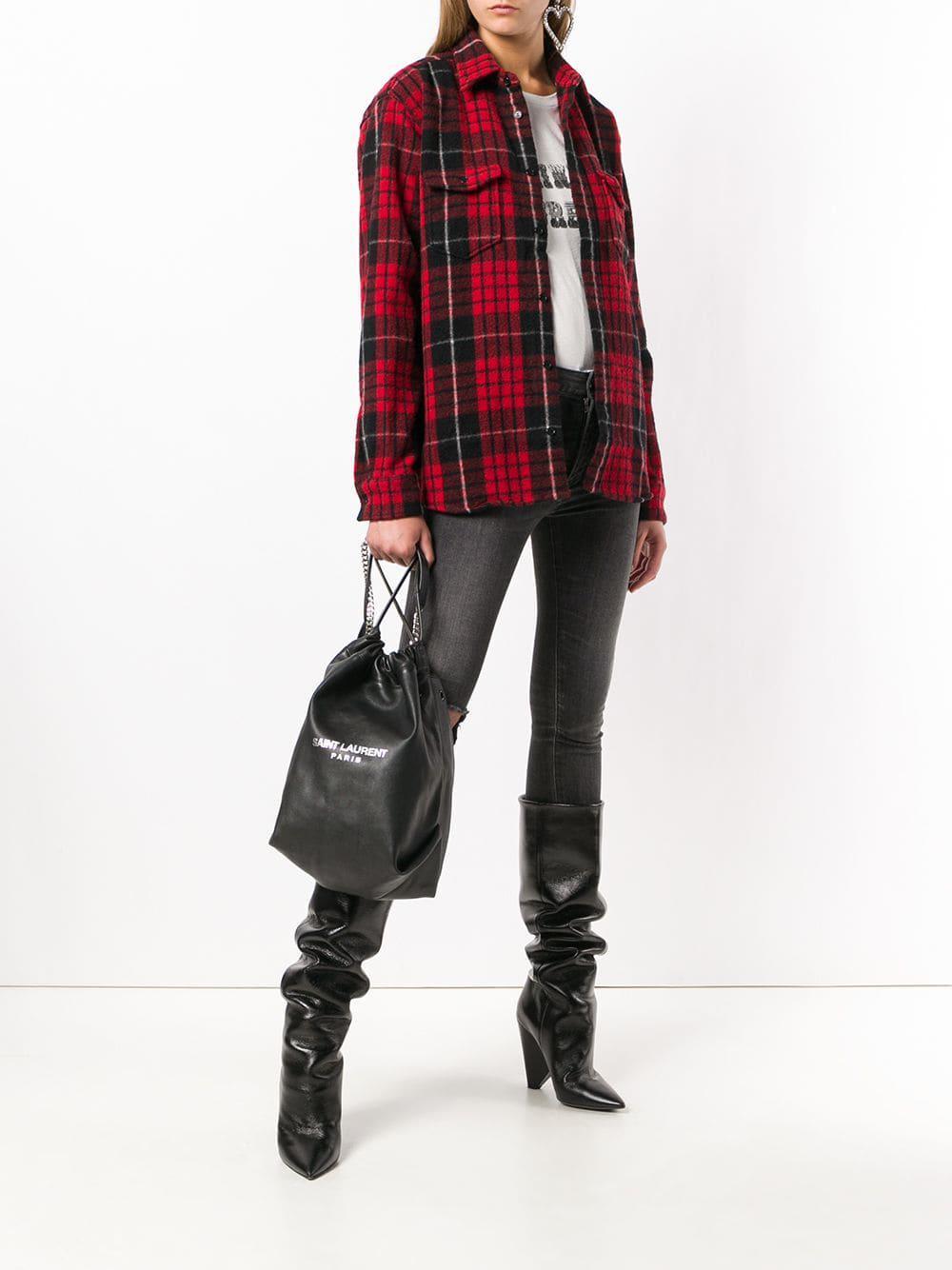 Lyst - Saint Laurent Black Teddy Bucket Bag in Black 114391f267e2c