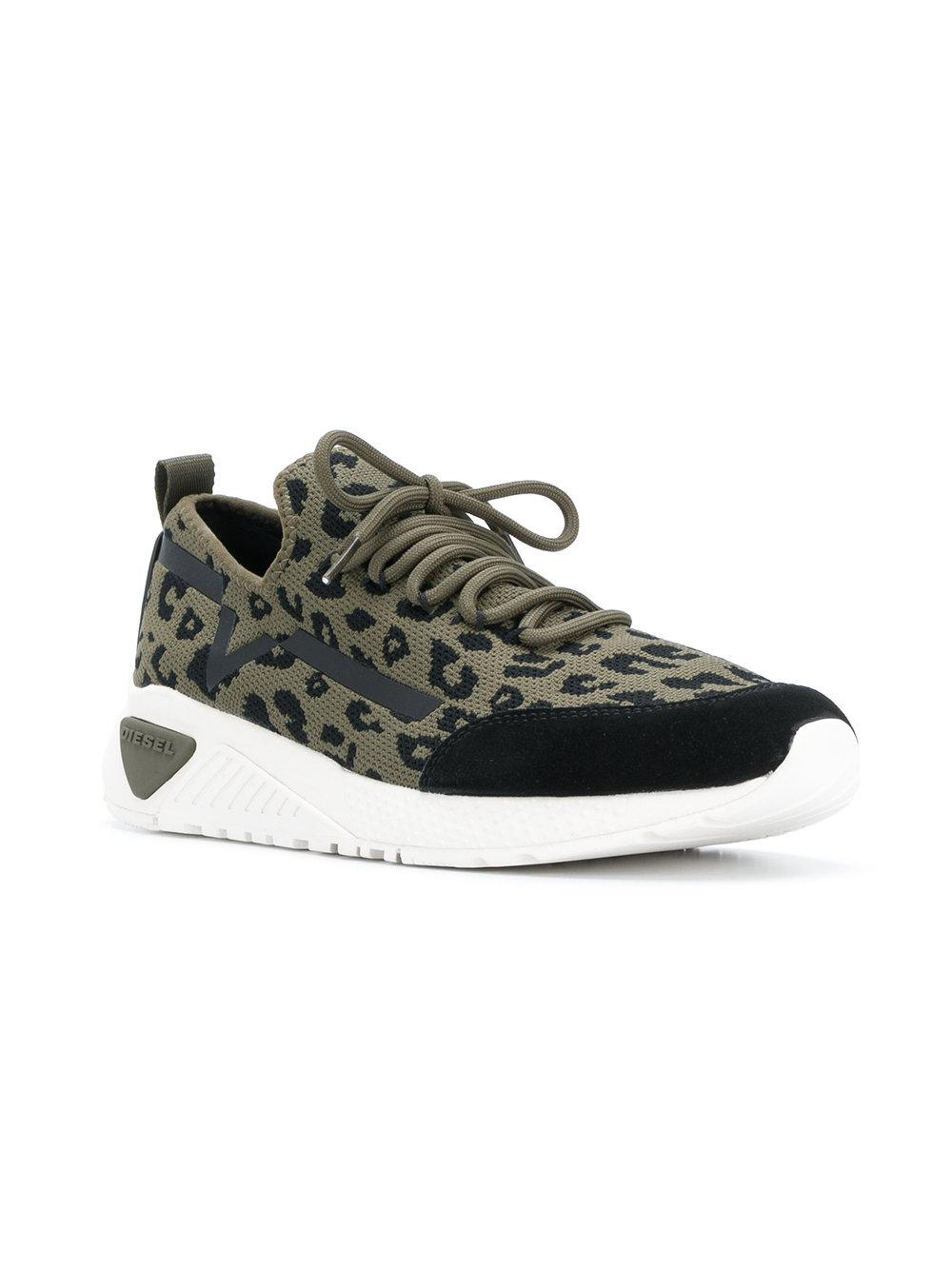 Pick A Best For Sale For Sale Wholesale Price leopard print low-top sneakers - Green Diesel 1pYZWuC