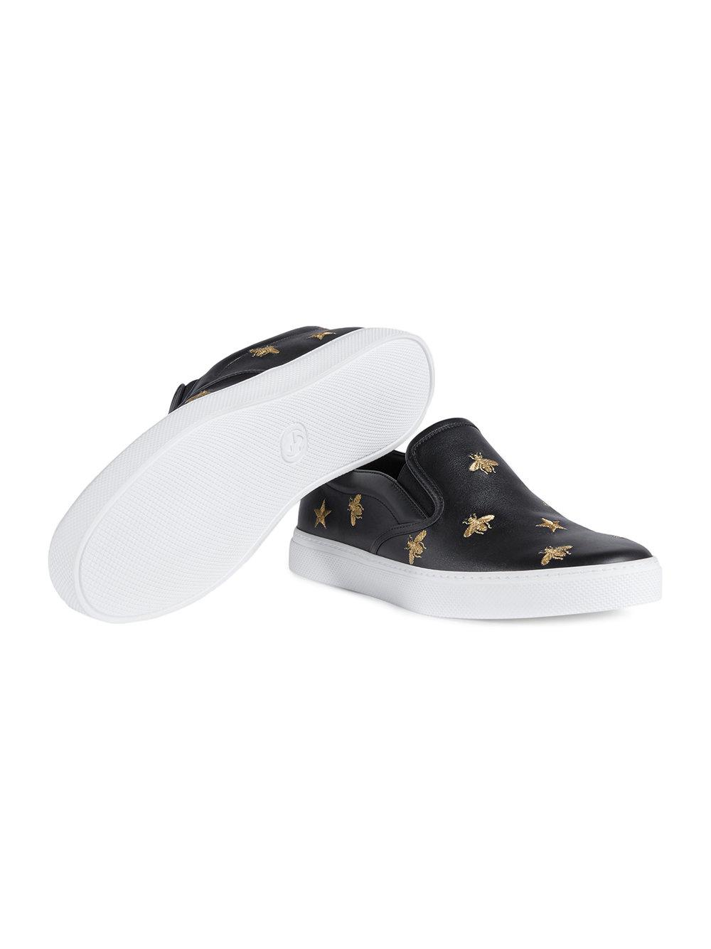 5a4750e8195 Gucci - Black Leather Slip-on Sneaker With Bees for Men - Lyst. View  fullscreen
