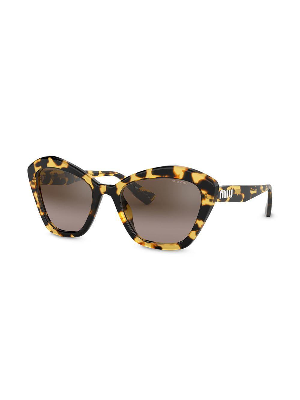 34f06f9d8c Miu Miu - Brown Oversized Cat-eye Sunglasses - Lyst. View fullscreen