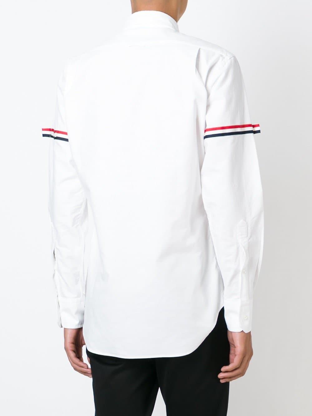 e4aa6f23b20a Thom Browne - White Striped Sleeve Shirt for Men - Lyst. View fullscreen