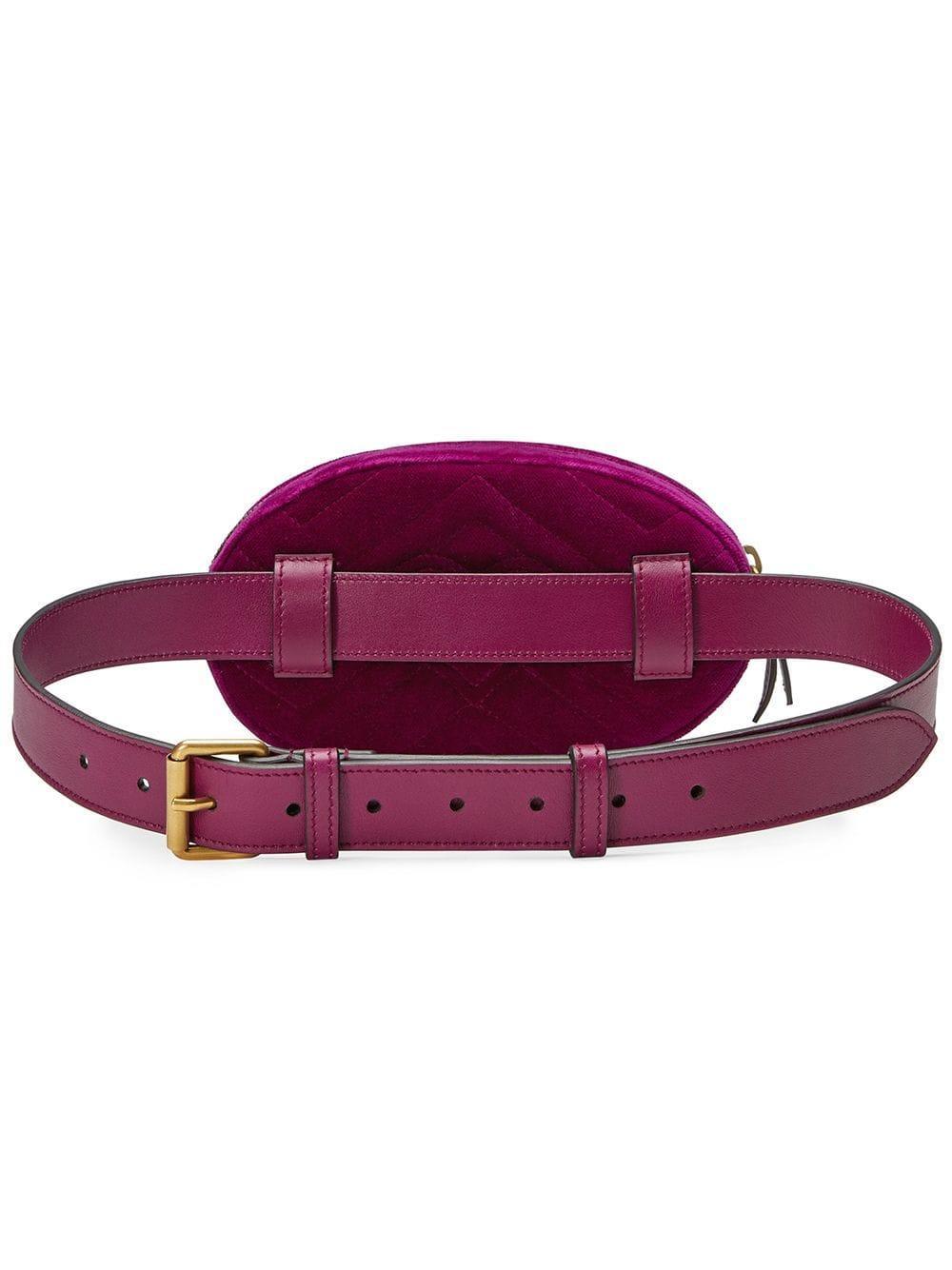 dedc9b7e7 Lyst - Gucci GG Marmont Matelassé Velvet Belt Bag in Pink