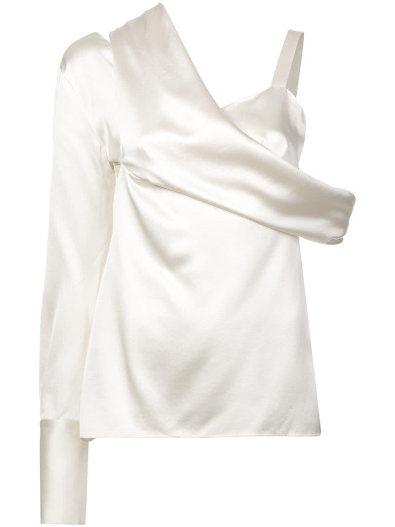 9489eb72a32967 Monse One Shoulder Blouse in White - Lyst