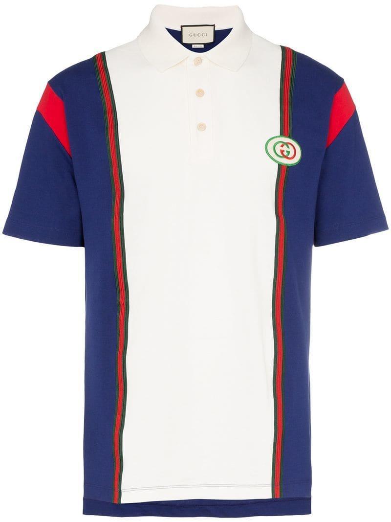 cbd80e67f Gucci - White Logo Patch Striped Cotton Polo Shirt for Men - Lyst. View  fullscreen