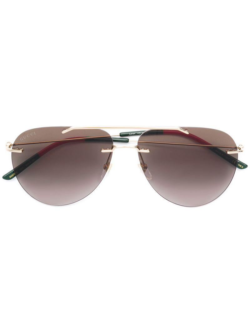 bfeaa3c0238 Gucci - Metallic Aviator Style Sunglasses for Men - Lyst. View fullscreen