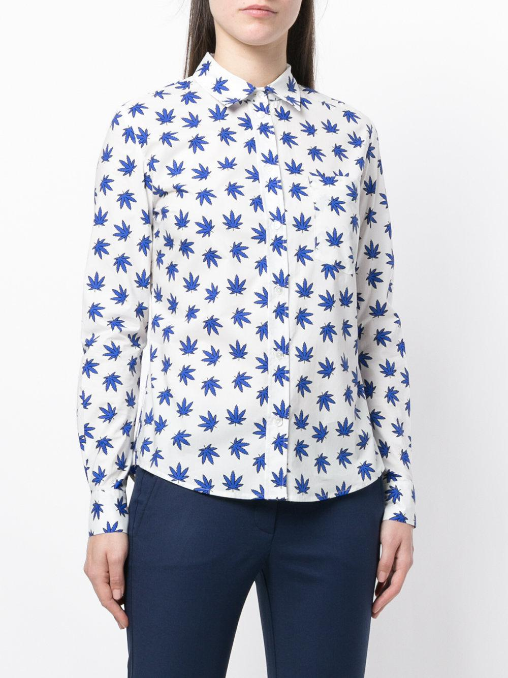 leaf-print tailored shirt - White P.A.R.O.S.H. Find Great Outlet Collections Best Place On Hot Sale Buy Cheap Pick A Best 5BW83w