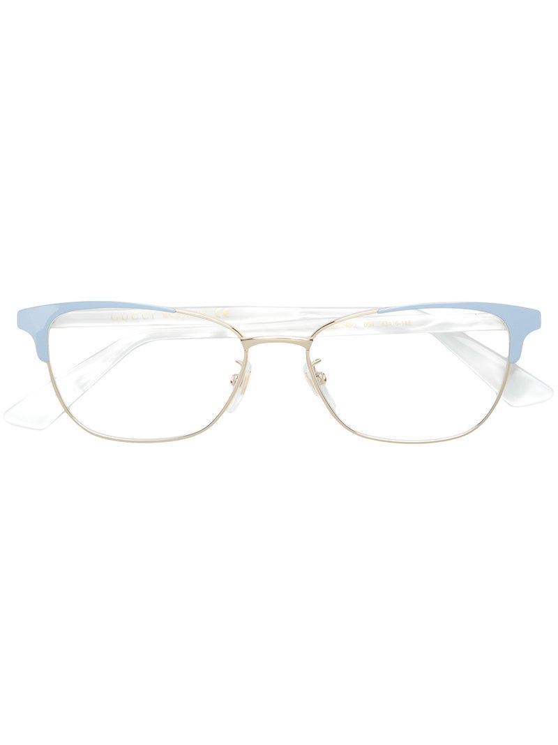 2b1e4006e85 Lyst - Gucci Cat Eye Glasses in Metallic