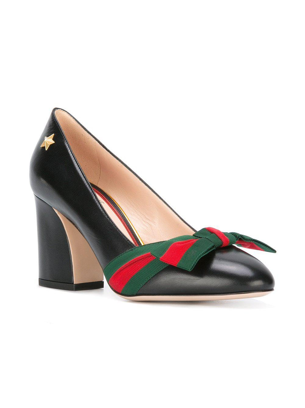 255ed65c965d Lyst - Gucci Web Bow Pumps in Black