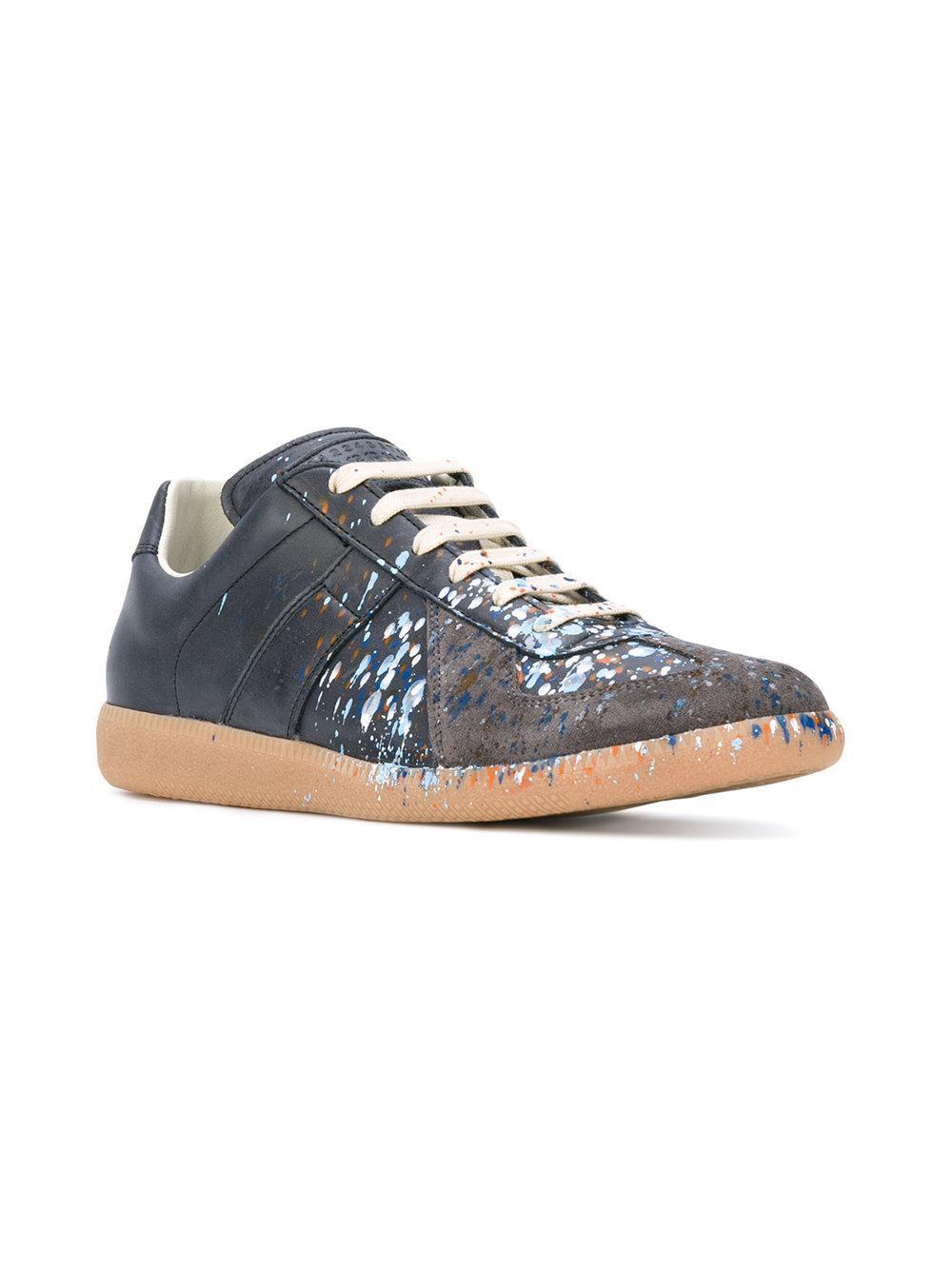 ef9e947a0e45 Maison Margiela Grey Paint Splatter Replica Sneakers in Blue for Men - Lyst