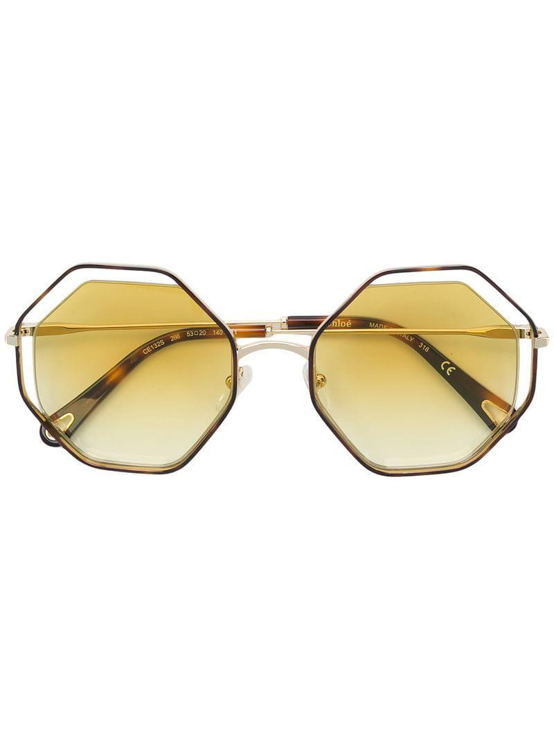 ffb61050dc1 Chloé - Metallic Tortoiseshell Octagonal Frame Sunglasses - Lyst. View  fullscreen