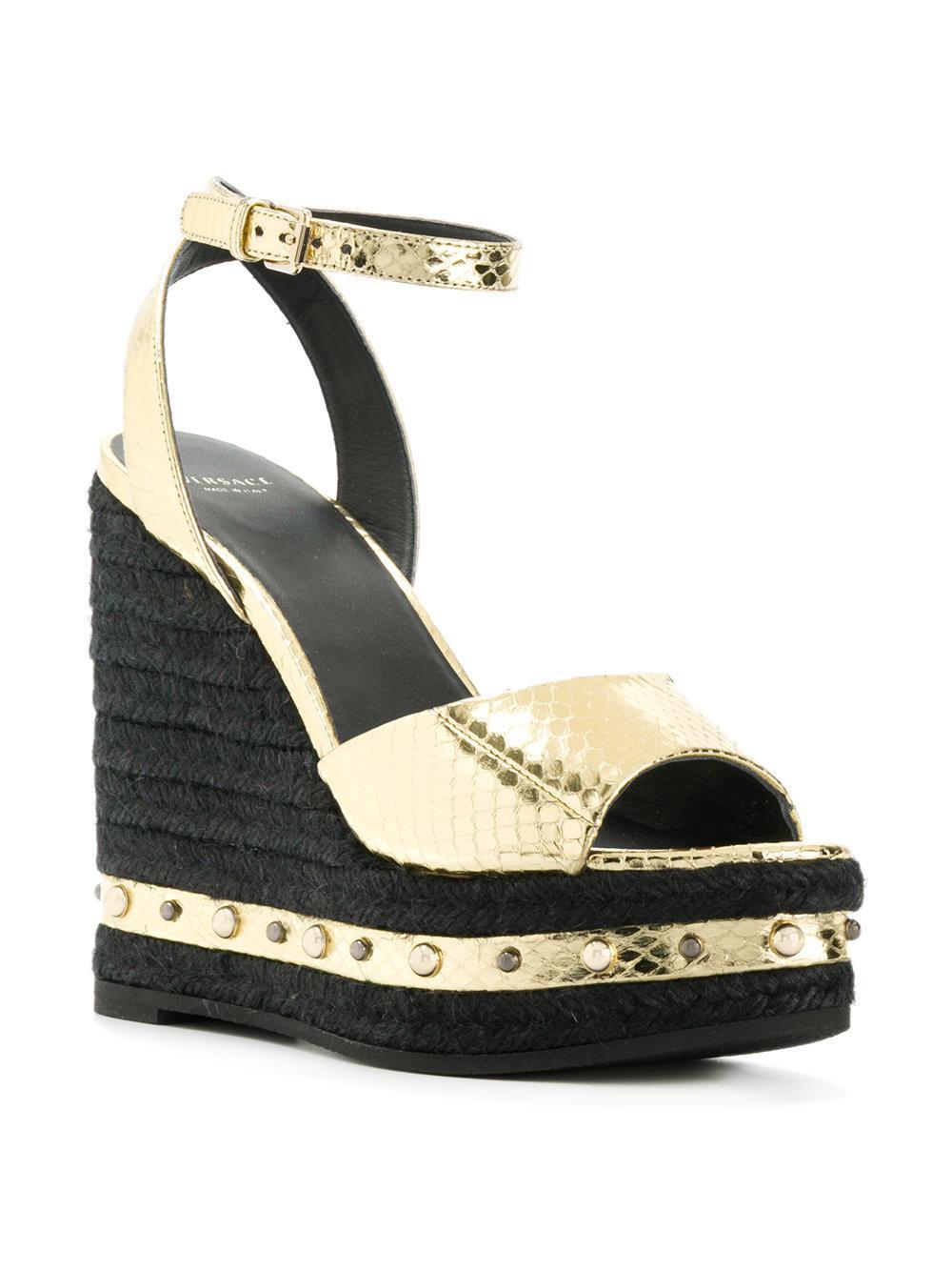 Versace In Metallic Lyst Sandals Wedge 6Yby7fg