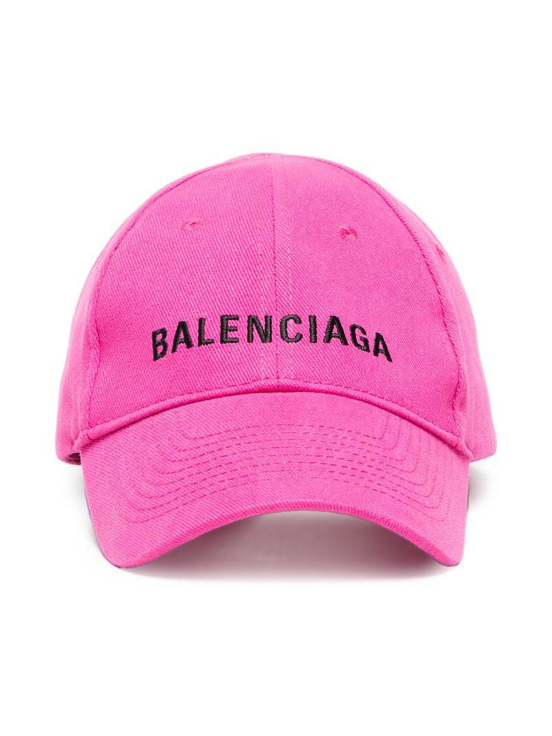 Lyst - Gorra con logo bordado Balenciaga de color Rosa - 7 % de ... 373ce969866