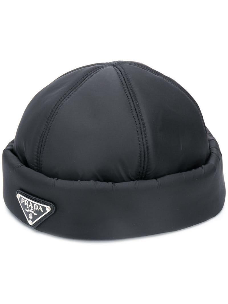 d12f58e376d Lyst - Prada Padded Beanie Hat in Black for Men