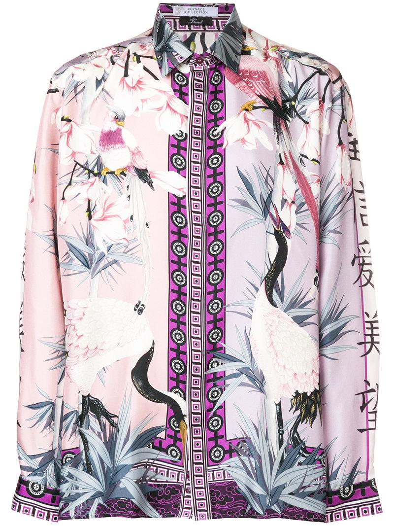 a03da7ff Versace Floral Print Shirt in Pink for Men - Lyst