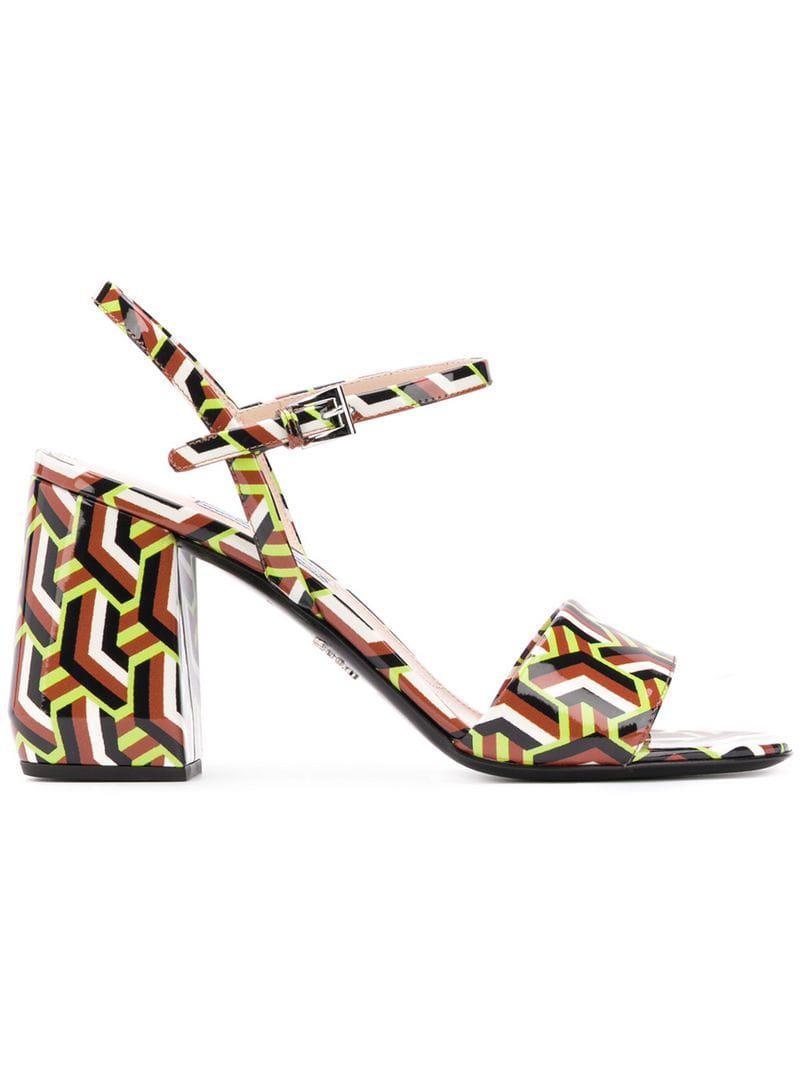 afbd6224919 Prada Printed Sandals in Brown - Lyst