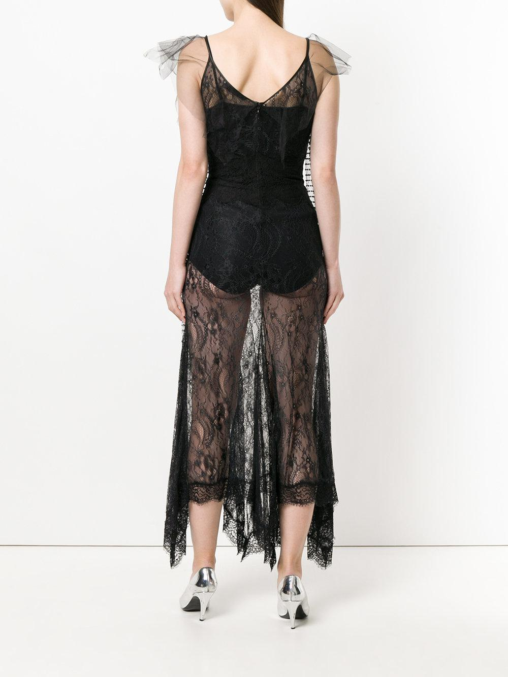 Free Shipping Cheap Online embellished sheer lace midi dress - Black Amen Manchester Great Sale tFBsz
