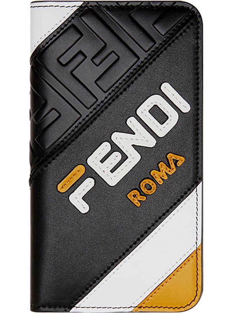 54f6766f20cf Lyst - Fendi Mania Panelled Iphone X Flip Case in Black