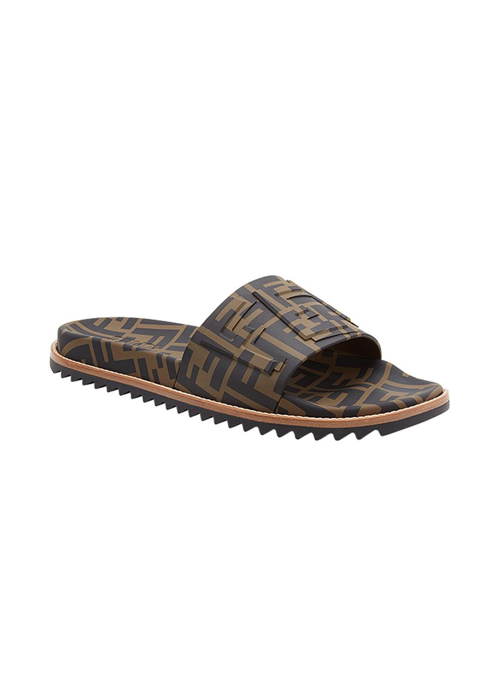 f78acb165 Fendi Ff Slides in Brown for Men - Save 40% - Lyst