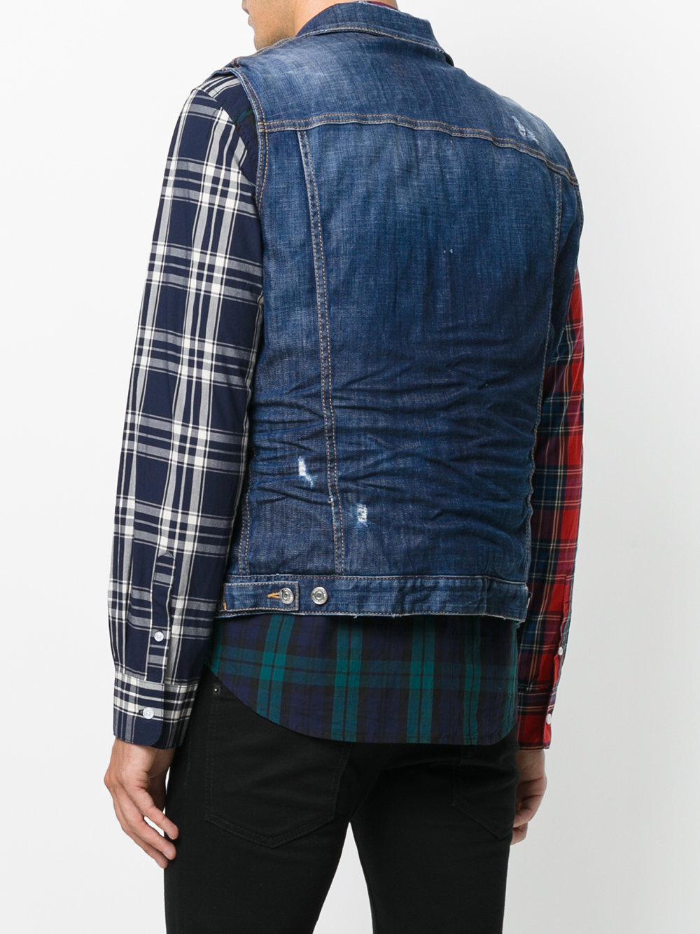 16cc0ae386e17b DSquared² - Blue Distressed Sleeveless Denim Jacket for Men - Lyst. View  fullscreen