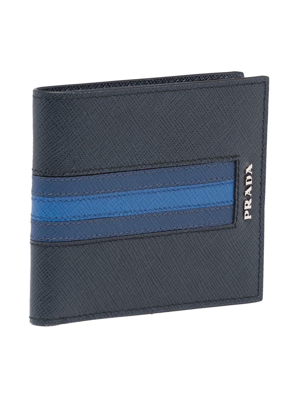 86e528b4e5e791 Prada Saffiano Stripe Wallet in Blue for Men - Lyst