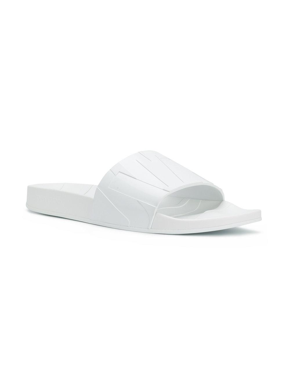 17b8f3ef5984 Lyst - Jimmy Choo Rey m White Rubber Slides in White for Men - Save  67.11864406779661%