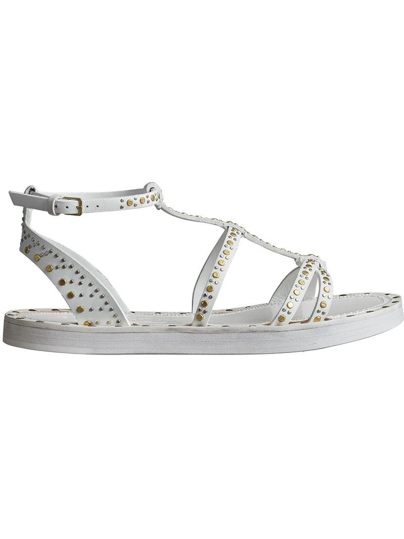 Riveted Leather Gladiator Sandals - White Burberry 5dPYDx