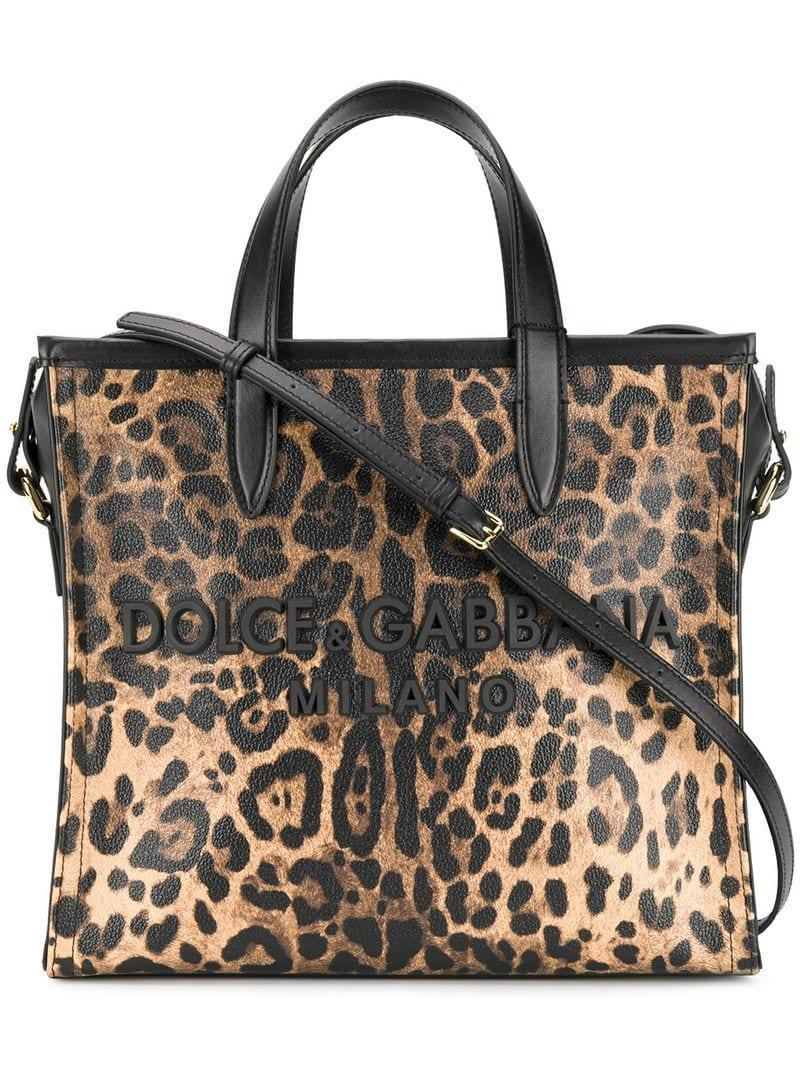 bdd0d840b9 Dolce   Gabbana Leopard Medium Market Shopping Tote in Black - Lyst